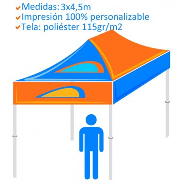Carpa Personalizada Plegable 3x4,5m