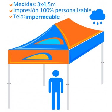 Carpa Personalizada Plegable 3x3m -Tela impermeable-