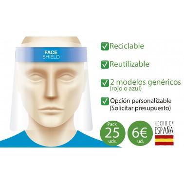 Viseras protección facial - Antivaho - 25 uds